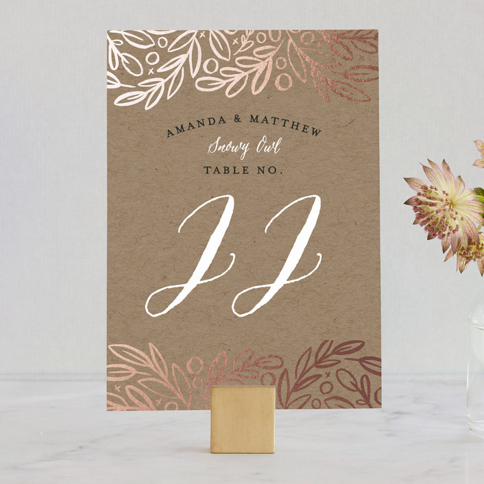 """""""Hidden Branches"""" - Rustic Wedding Table Numbers in Kraft by Alethea and Ruth."""