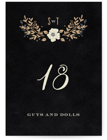 This is a portrait floral, monogrammed, black Table Numbers by Bonjour Paper called Jardin Nocturne with Standard printing on Luxe Museum Board in Classic Flat Card format. Table numbers come in a flat or folded format. Select from our Signature, ...