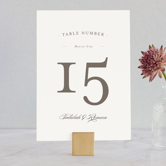 """""""Love Language"""" - Formal, Classical Wedding Table Numbers in Warm Slate by Pistols."""