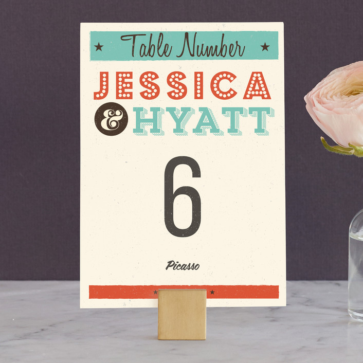 """""""MidCentury Poster Board"""" - Vintage, Whimsical & Funny Wedding Table Numbers in Tangerine by Coco and Ellie Design."""