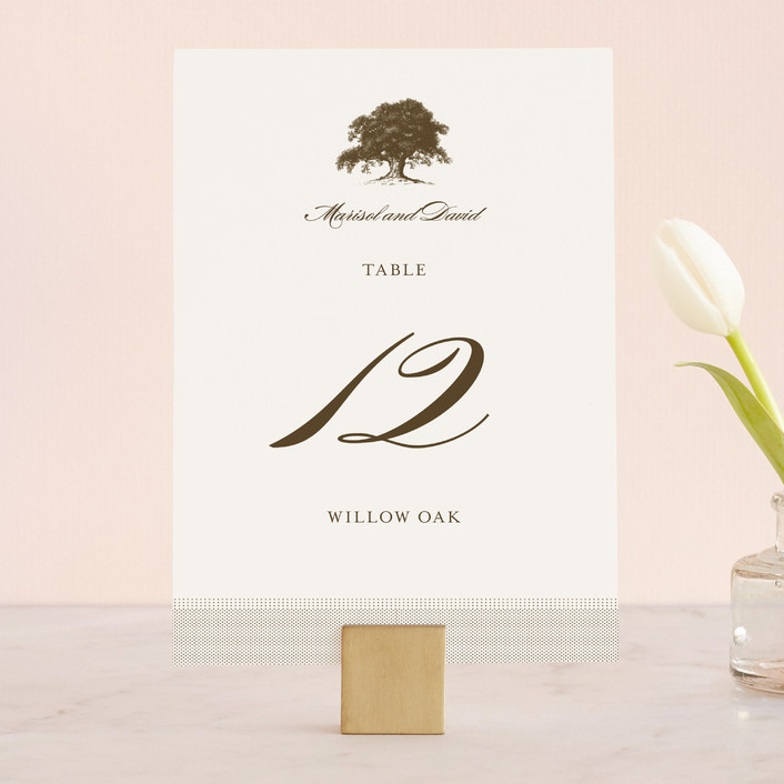 """Modern Crest"" - Rustic Wedding Table Numbers in Gravy by Milkmaid Press."