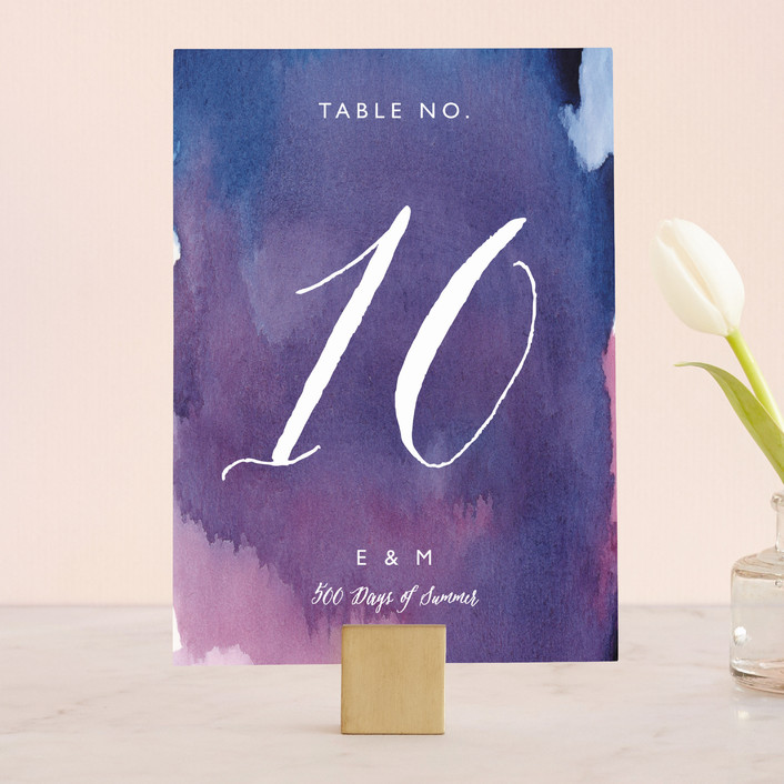 """""""Mulberry"""" - Abstract Wedding Table Numbers in Mulberry by Lindsay Megahed."""