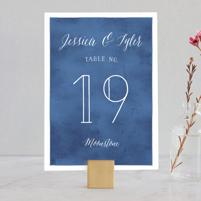 """""""Paint Swatch"""" - Elegant, Classical Wedding Table Numbers in Sapphire by Jill Means."""