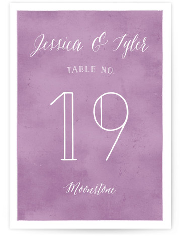 This is a portrait classical, elegant, watercolor, purple Table Numbers by Jill Means called Paint Swatch with Standard printing on Luxe Museum Board in Classic Flat Card format. Table numbers come in a flat or folded format. Select from our ...