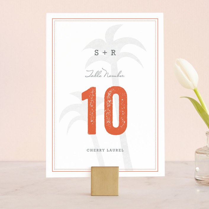 """Passport"" - Destination, Beach Wedding Table Numbers in Coral by Sarah Curry."