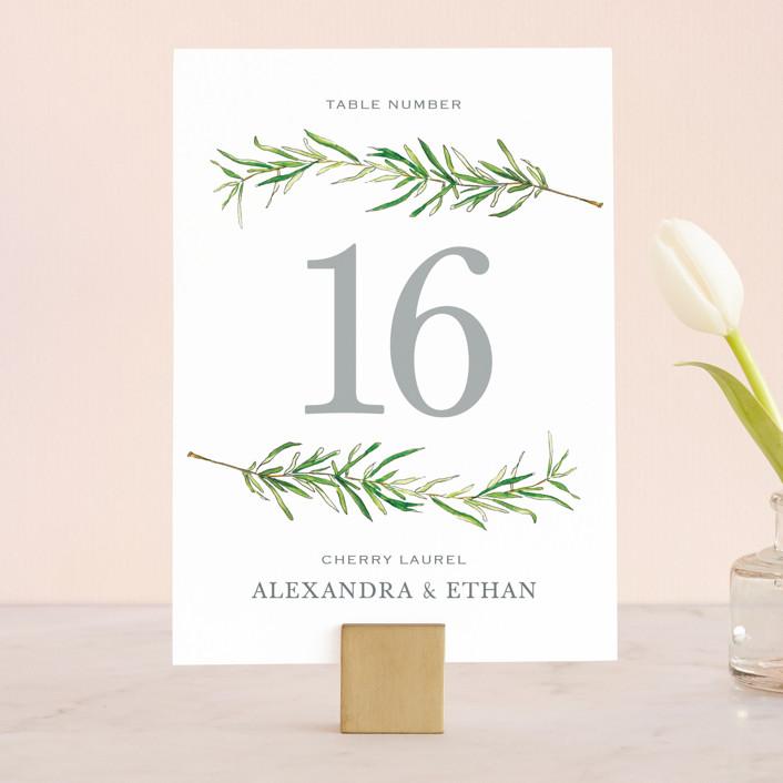 """""""Simple Sprigs"""" - Wedding Table Numbers in Fern by Erin Deegan."""