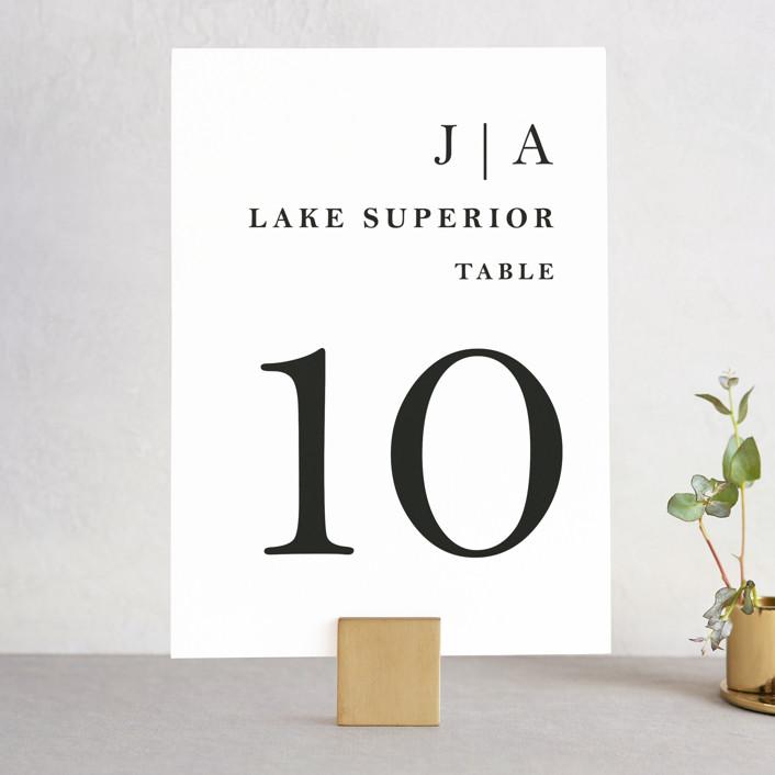 """Sophistotype"" - Simple, Monogrammed Wedding Table Numbers in Sea Salt by Snow and Ivy."