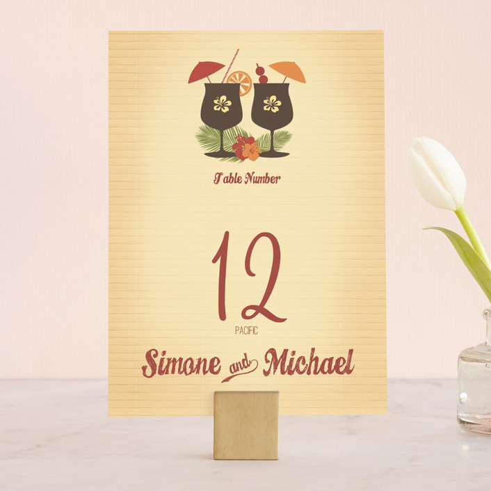 """Tiki Luau"" - Whimsical & Funny, Destination Wedding Table Numbers in Cherry by BeachPaperCo."