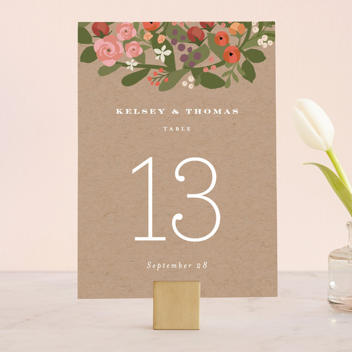 """""""Waverly Florals"""" - Rustic, Monogrammed Wedding Table Numbers in Kraft by Jennifer Wick."""