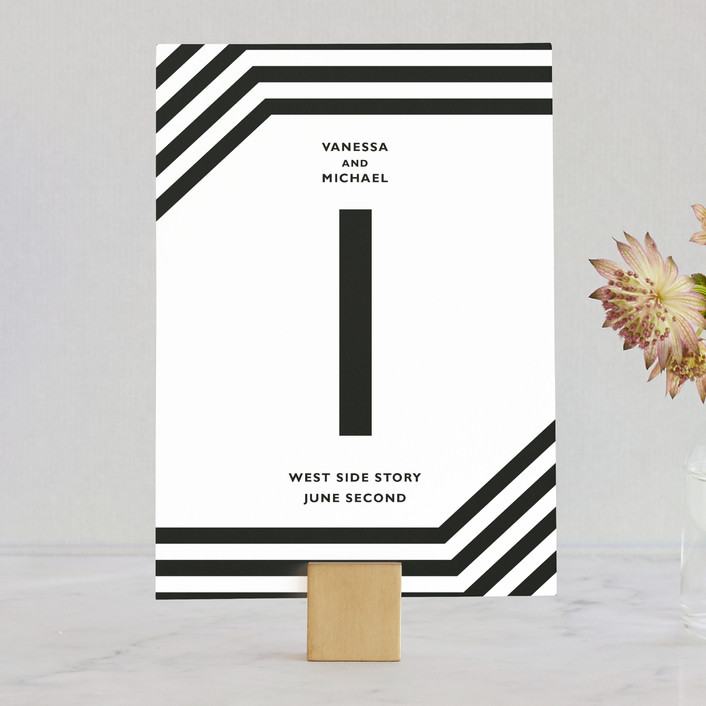 """Desenfadado"" - Bold typographic, Simple Wedding Table Numbers in Black Ink by Aspacia Kusulas."
