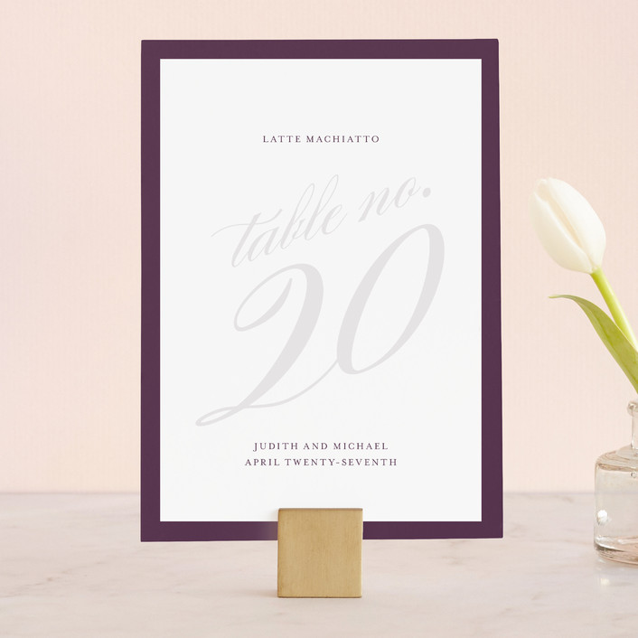 """""""Framed"""" - Elegant, Simple Wedding Table Numbers in Plum by Roxy Cervantes."""