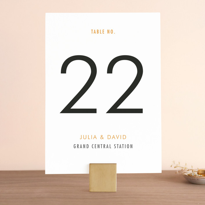 """Minimalist Display"" - Simple Wedding Table Numbers in Orange by Coco and Ellie Design."