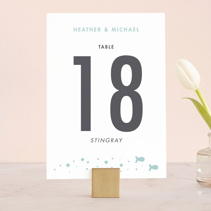 """Only Fish for Me"" - Whimsical & Funny, Modern Wedding Table Numbers in Tropical Sea by Ling Wang."