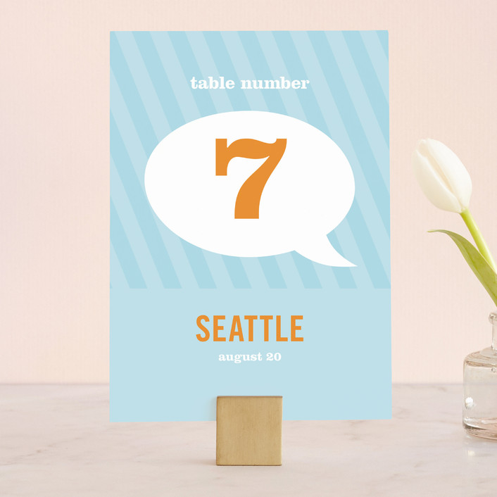 """""""Smart Conversation"""" - Modern, Whimsical & Funny Wedding Table Numbers in Pool Blue by pottsdesign."""