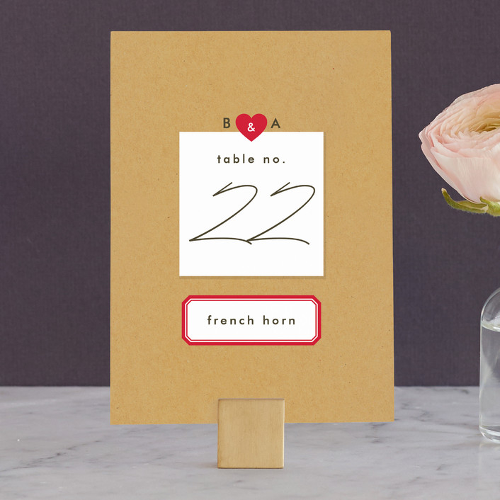 """""""Textbook Love Story"""" - Simple, Whimsical & Funny Wedding Table Numbers in Kraft by root beer float."""