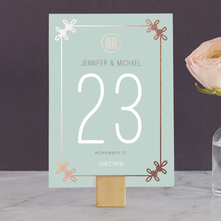 """""""Double Knotted Happiness"""" - Wedding Table Numbers in Dusk by Ling Wang."""