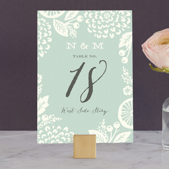 """Floral Silhouette"" - Floral & Botanical Wedding Table Numbers in Sea Glass by Griffinbell Paper Co.."