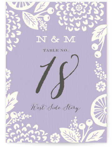 This is a portrait floral, purple Table Numbers by Griffinbell Paper Co. called Floral Silhouette with Standard printing on Luxe Museum Board in Classic Flat Card format. Bold, graphic florals are featured in one of Pantone's wedding colors for 2015. ...