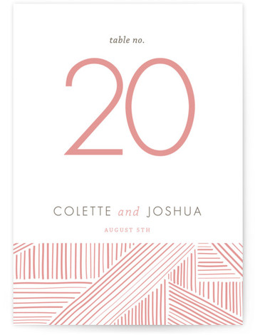 This is a portrait modern, pink Table Numbers by R studio called Rhythm + Hues with Standard printing on Luxe Museum Board in Classic Flat Card format. Grounded with a hand drawn geometric design, this invitation adds some modern elegance ...
