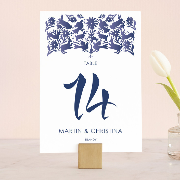 """""""Otomi"""" - Wedding Table Numbers in Denim by Paper Monkey Press."""