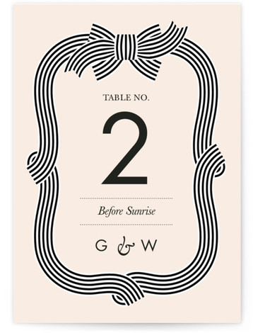 This is a portrait preppy, pink Table Numbers by Sam Dubeau called Striped Bow with Standard printing on Luxe Museum Board in Classic Flat Card format. Celebrate tying the knot with this modern and classy striped bow wedding invitation.