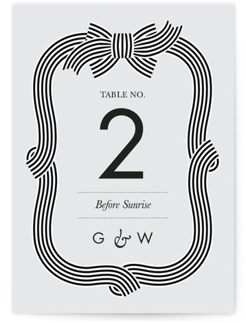 This is a portrait preppy, blue Table Numbers by Sam Dubeau called Striped Bow with Standard printing on Luxe Museum Board in Classic Flat Card format. Celebrate tying the knot with this modern and classy striped bow wedding invitation.