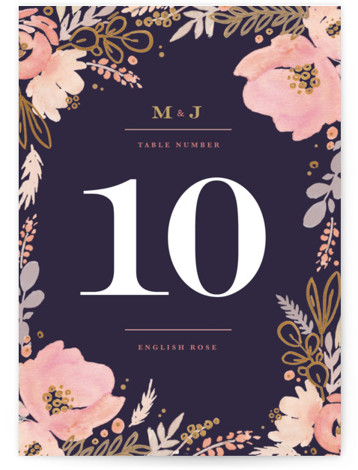 This is a botanical, rustic, purple, colorful, gold Table Numbers by Kristen Smith called Floral Vignette with Standard printing on Luxe Museum Board in Classic Flat Card format. Table numbers come in a flat or folded format. Select from our ...