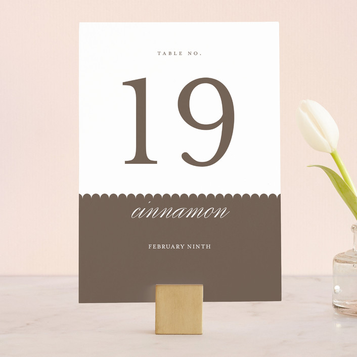 """""""Sweet Scallop"""" - Classical Wedding Table Numbers in Taupe by annie clark."""