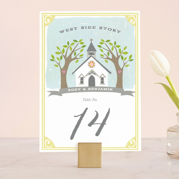 """""""Going to the Chapel"""" - Bold typographic, Whimsical & Funny Wedding Table Numbers in Spring by Griffinbell Paper Co.."""
