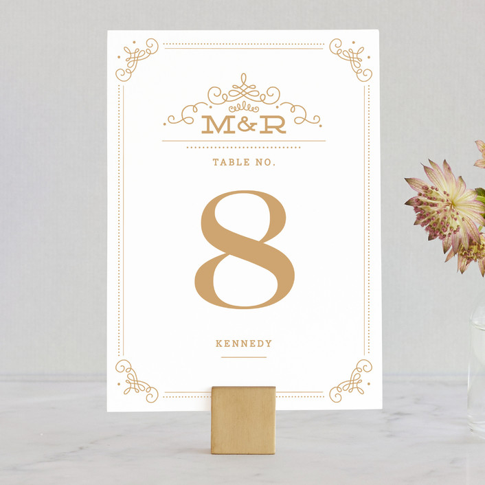 """Ornate Monogram"" - Monogrammed, Formal Wedding Table Numbers in Faux Gold by Kristen Smith."
