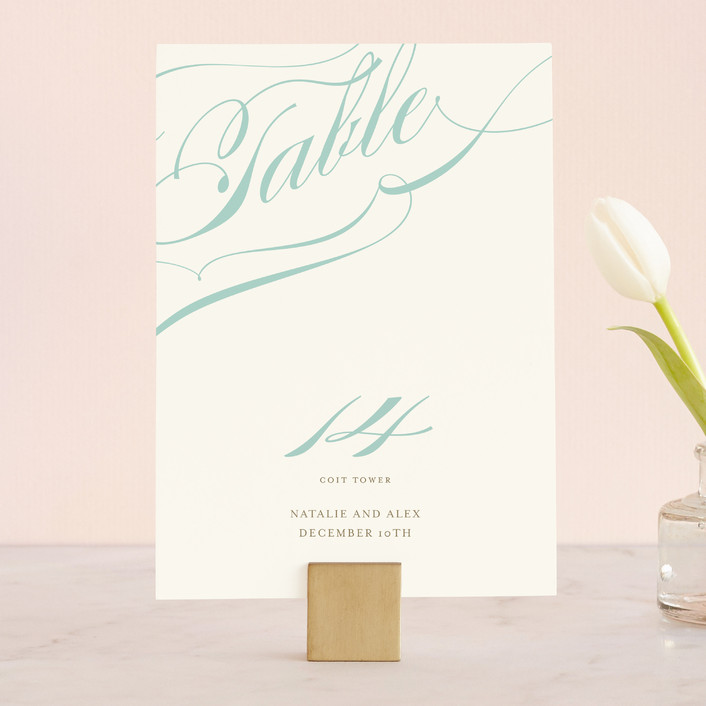 """""""Winter Flourish"""" - Elegant, Formal Wedding Table Numbers in Robin's Egg by annie clark."""