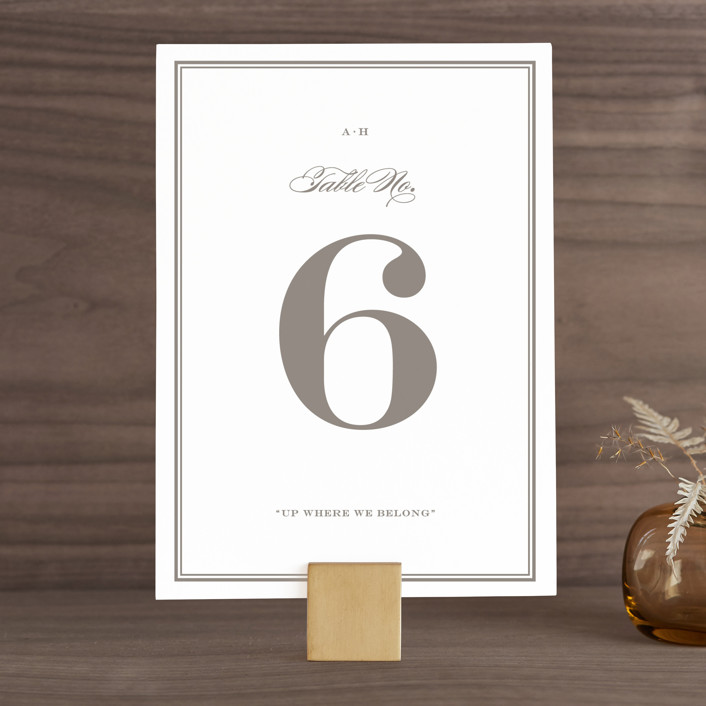 """Field"" - Simple, Elegant Wedding Table Numbers in Ash by Toast & Laurel."