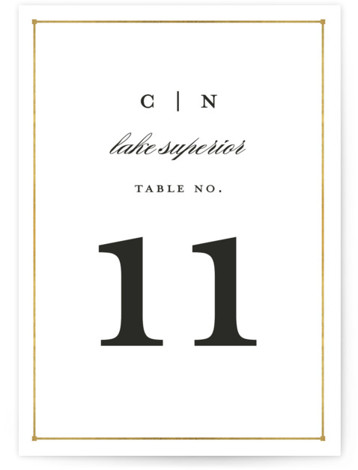This is a portrait bold typographic, classical, elegant, formal, gold Table Numbers by Snow and Ivy called Dapper Amper with Standard printing on Luxe Museum Board in Classic Flat Card format. Table numbers come in a flat or folded format. ...