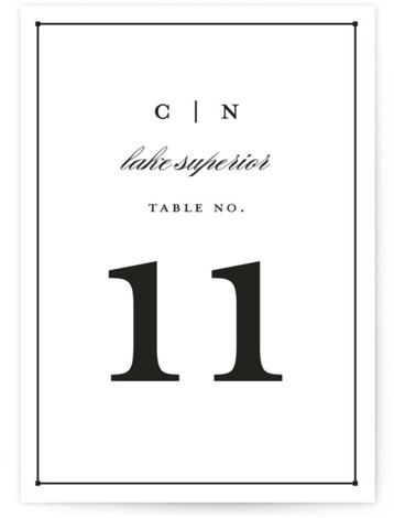 This is a portrait bold typographic, classical, elegant, formal, black and white Table Numbers by Snow and Ivy called Dapper Amper with Standard printing on Luxe Museum Board in Classic Flat Card format. Table numbers come in a flat or ...