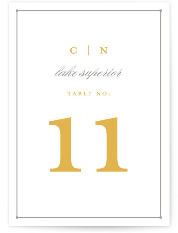 This is a portrait bold typographic, classical, elegant, formal, yellow Table Numbers by Snow and Ivy called Dapper Amper with Standard printing on Luxe Museum Board in Classic Flat Card format. Table numbers come in a flat or folded format. ...