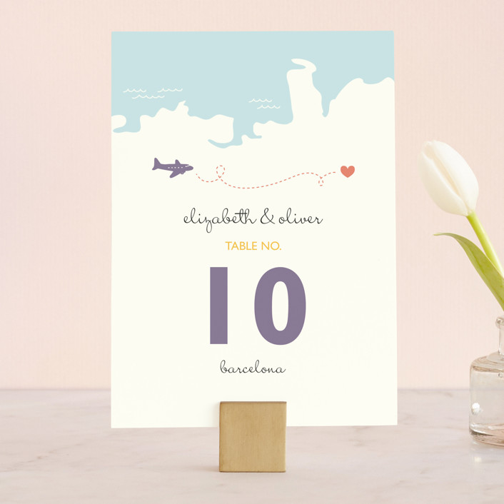 """Destination"" - Destination, Whimsical & Funny Wedding Table Numbers in Lilac Haze by leslie hamer."