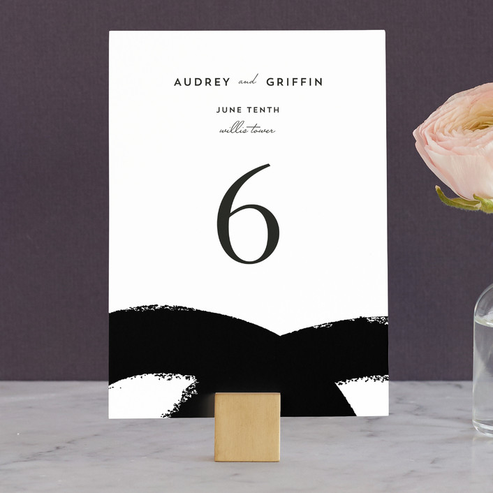 """""""the modernists"""" - Modern, Abstract Wedding Table Numbers in Mustard by Angela Marzuki."""