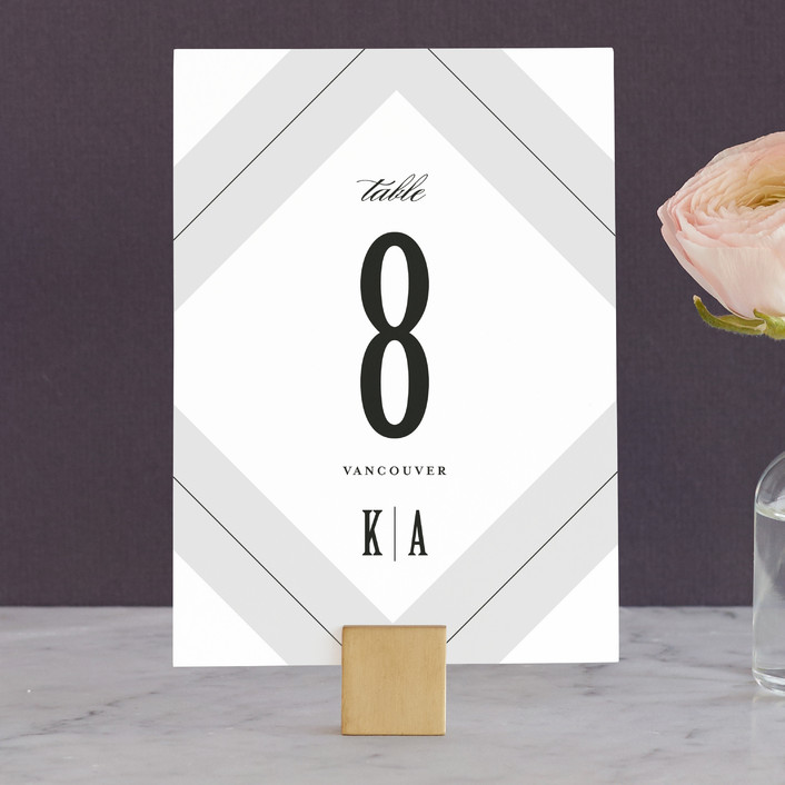 """Pinstripe"" - Classical Wedding Table Numbers in Shadow by Lauren Chism."