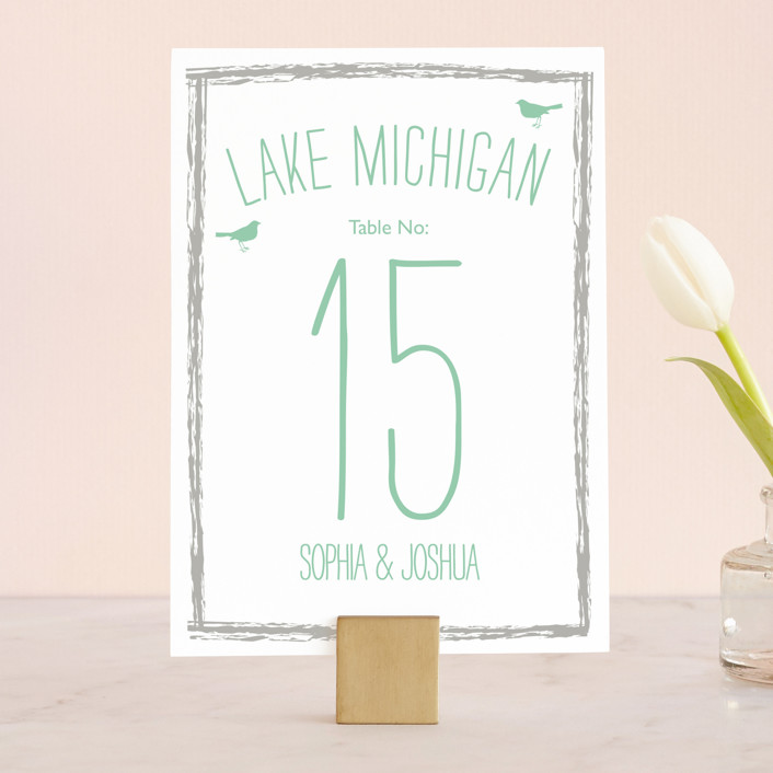 """""""Love Let Loose"""" - Rustic, Rustic Wedding Table Numbers in Seaglass by Paisley Tree Press."""