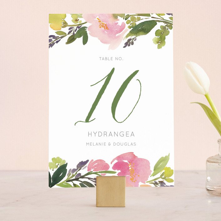 """""""Watercolor Floral"""" - Floral & Botanical Wedding Table Numbers in Olive by Yao Cheng Design."""