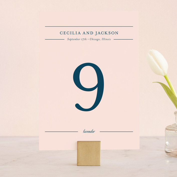 """""""Chic Gala"""" - Classical, Elegant Wedding Table Numbers in Cotton Candy by Kimberly FitzSimons."""