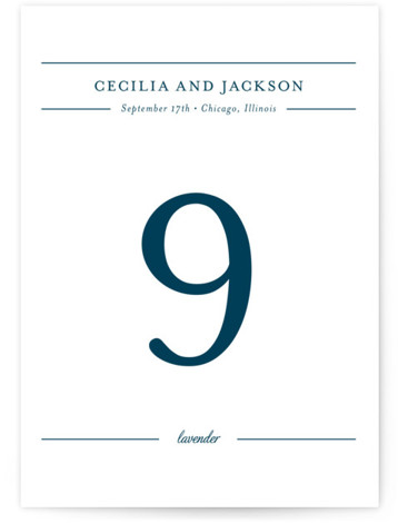 This is a portrait classical, elegant, formal, blue Table Numbers by Kimberly FitzSimons called Chic Gala with Standard printing on Luxe Museum Board in Classic Flat Card format. Table numbers come in a flat or folded format. Select from our ...