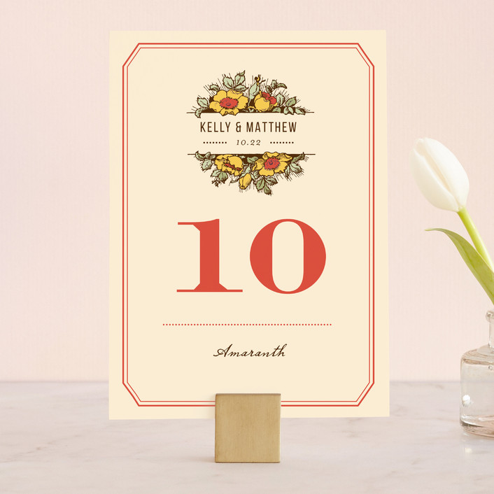 """""""Harvest Floral"""" - Vintage, Rustic Wedding Table Numbers in Poppy by Paper Dahlia."""