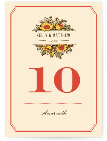 This is a portrait floral, rustic, vintage, red Table Numbers by Paper Dahlia called Harvest Floral with Standard printing on Signature in Classic fold over (blank inside) format. This design features vintage inspired typography and a large floral bouquet that ...