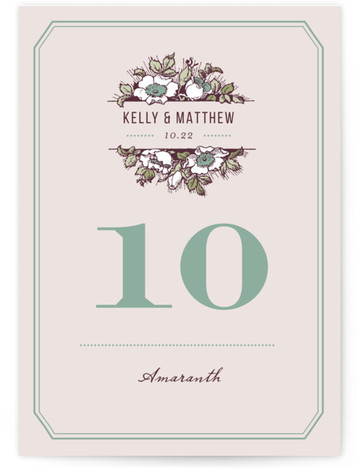 This is a portrait floral, rustic, vintage, purple Table Numbers by Paper Dahlia called Harvest Floral with Standard printing on Luxe Museum Board in Classic Flat Card format. This design features vintage inspired typography and a large floral bouquet that ...