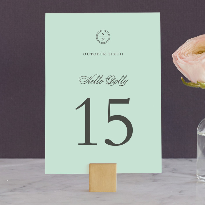 """Notable"" - Classical, Monogrammed Wedding Table Numbers in Robin's Egg by Olivia Raufman."