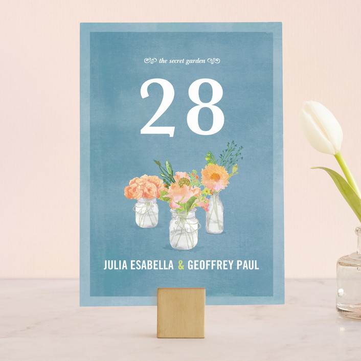 """""""Bouquet D'Amour"""" - Floral & Botanical, Hand Drawn Wedding Table Numbers in Pacific Jade by Beth Ann."""