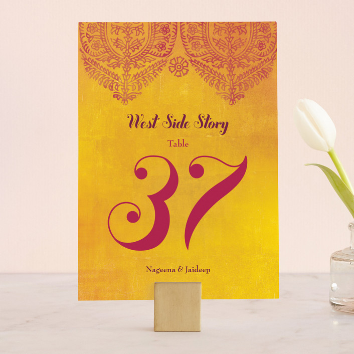 """Anand Karaj"" - Floral & Botanical Wedding Table Numbers in Coral by Ann Gardner."