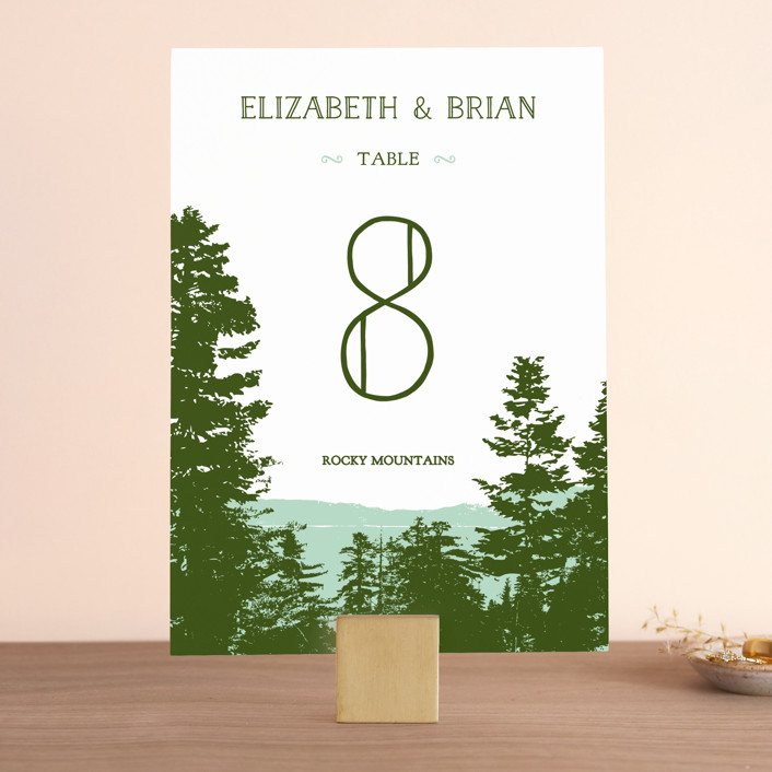 """""""Mountain View"""" - Rustic, Destination Wedding Table Numbers in Pine green by Ariel Rutland."""