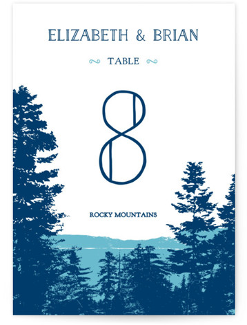 This is a portrait destination, rustic, blue Table Numbers by Ariel Rutland called Mountain View with Standard printing on Luxe Museum Board in Classic Flat Card format. Table numbers come in a flat or folded format. Select from our Signature, ...